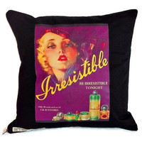 Retro transfer print cushion cover in black polycotton zip fastening 40cm