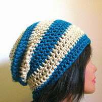 Slouchy Beanie Teal and Tan