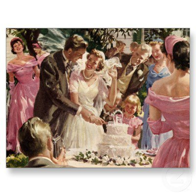Vintage Reception Bride Groom Newlyweds Cut Cake Postcard from Zazzle.com