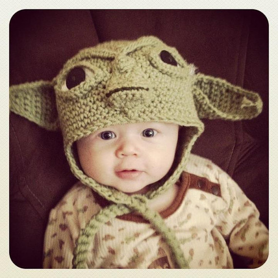 Knitting Pattern For Baby Yoda Hat : Special Made to Order Yoda EarFlap Hat from MamaJody54 on Etsy