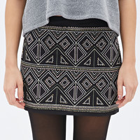 Sequined Geo-Embroidered Mini Skirt