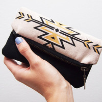 Biface Tribal navajo Zipper pouch black and yellow print fold over zip clutch suede fabric with ethnic handpainted pattern