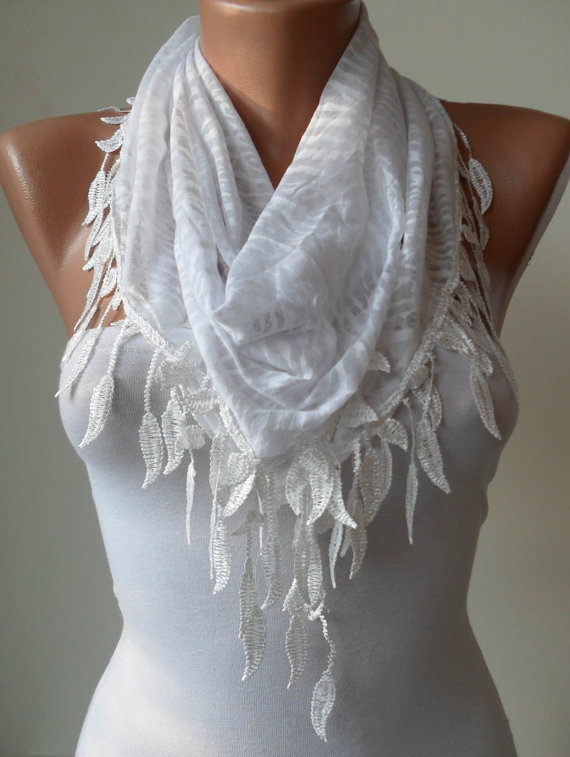 White Scarf - Leopard and Cotton Scarf with White Trim Edge - White Leopard Fabric -Triangular