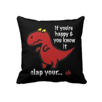 Dinosaur Can't Clap Joke Pillows from Zazzle.com