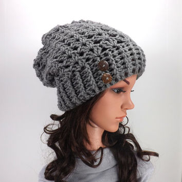 Crochet Slouchy Hat /PEWTER/ with Two from MyNicePurses on ...