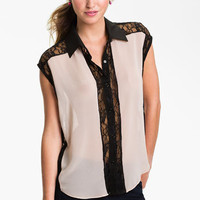 Lush Colorblock Lace Shirt (Juniors) | Nordstrom