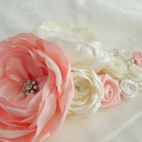 Wedding Sash in Blush Pink and Ivory Bridal Sash-satin and organza with,wedding sash, bridal sash,