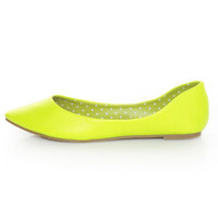 Privileged Vienna Neon Yellow Pointed Toe Flats - $27.00