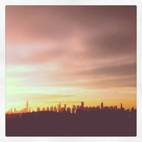 new york photography, sunset over NYC skyline, 8x8 art photo, iphoneography, instagram, home decor