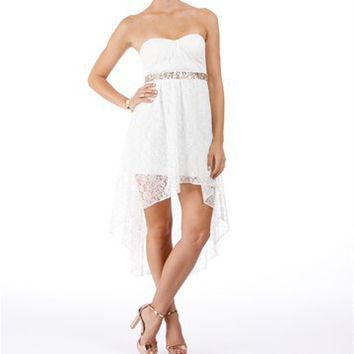 Hialeah-Ivory Lace Homecoming Dress