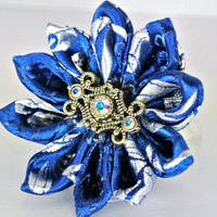 Blue brocade fabric kanzashi hair flower clip