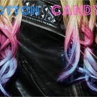 C O T T O N candy pink and blue ombre/ dip dye/ duo colored pastel/ free people/ rainbow/ clip-in human (2) hair extensions