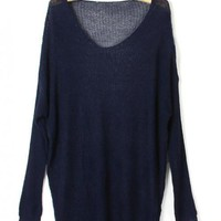 V Neck Long Sleeve Navy Sweater$38.00
