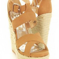 Camel Faux Leather Cross Strappy Open Toe Espadrille Wedges