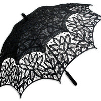 Battenberg Lace Parasol, Black