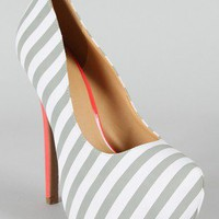 Diva Lounge Viola-02 Striped Platform Pump
