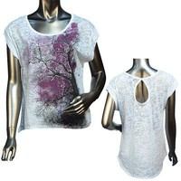 Ladies fashion short sleeve round neck asymmetrical top -id.22347