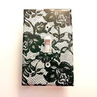 Light Switchplate, Switch Plate- Black and White Lace Floral