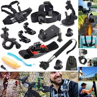 EEEKit 12-in-1 Outdoor Sports Essentials Kit for GoPro Hero4 Silver Black Hero 4 3+ 3 2 in Parachuting Swimming Rowing Surfing Skiing Climbing Running Bike Riding Camping Diving Outing Any Other Outdoor Sports, Head Belt Strap Mount + Chest Belt Strap Moun