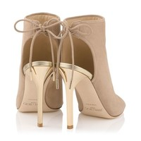 Nude Suede and Champagne Mirror Leather Sandal Booties | Froze | Spring Summer 15 | JIMMY CHOO Shoes