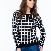 Squared Away Knit Gridline Sweater