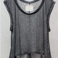 Tencel Cashmere Rib Tank Top — Charcoal by V::room at HEIST