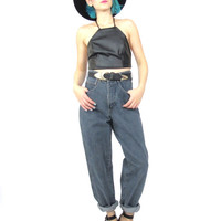 80s Grunge Mom Jeans High Waist Faded Tapered Leg Jeans Hipster Grey Denim Baggy Fit Manager Jeans (S/M)