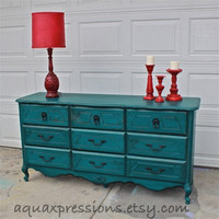 Gypsy Teal French Provincial Dresser