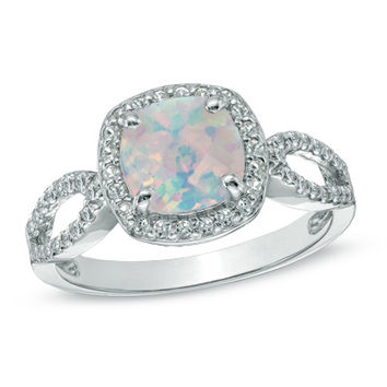 7.0mm Cushion-Cut Lab-Created Opal and White Sapphire Ring in Sterling Silver