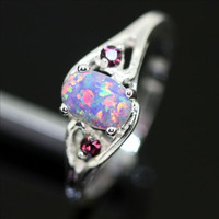 Sterling Silver and Purple Fire Opal Ring - Purple Fire Opal /