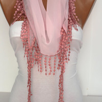 Pink Shawl Scarf - Headband -with Lace Edge - New-  DIDUCI
