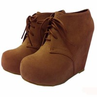 JJF Shoes C-1 Glaze Wedge Round Toe Hidden Platform Lace Up Ankle Bootie