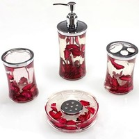 GGTY 4 Piece Bathroom Accessory Set (Red)