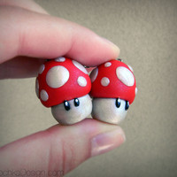 RED Mushroom (Super Mario) Charm with Phone Strap - Nintendo, Polymer Clay