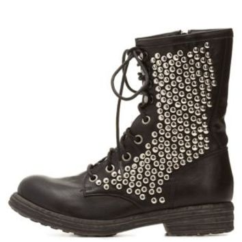 Qupid Studded Combat Boots by Charlotte Russe - Black