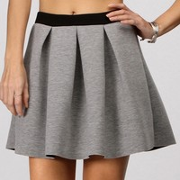 Sale-gray Pleated Scuba Skirt