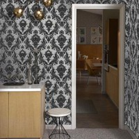 Tempaper Damsel Metallic Silver wallpaper by Couture Deco