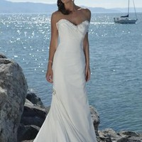 Chiffon Sweetheart Strapless Slim Column Shape Beach Wedding Dress - Basadress.com
