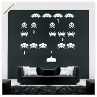 Buy Space invaders vinyl wall sticker - (weeded and application tape applied) on Shoply.