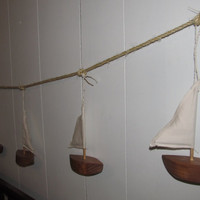 OOAK Upcycled Wooden Sailboat Garland Nautical Home Decor Made to order Rustic Beach Ocean Lake Decor