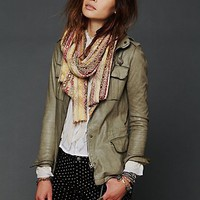 Free People Military Leather Jacket