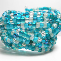 Braided Cuff Bracelet Teal Blue Braided Cuff Bracelet Beaded Cuff