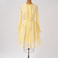 1960's Mr. Mort Yellow Gauze Dress - 60's Designer Dress