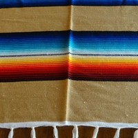 Serape ONWS-Tan Blanket Table Cover Seat Cover Throw Mexican Design 5' X 7'