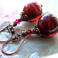 Deep Red Earrings, Artisan Handmade Copper, Crimson Wine Red Beads, Dangle, Glamorous