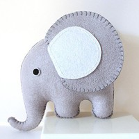 Grey Felt Elephant PDF Pattern by loopzart on Etsy