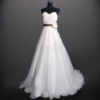Custom make Vintage A LINE Organza Wedding Dress Bridal Gown Sweetheart Flower Sash Plus size Bridesmaid Train Prom Evening Dress