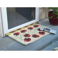 Printed Coco Coir Doormat Poppy Design