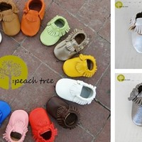 Baby Leather Moccasins - 33 colors, custom sizes 0-24 months!