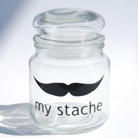 My Stache jar....the Villian Mustache Glass Jar...a perfect place for your &#x27;STACHE&#x27; - medium jar